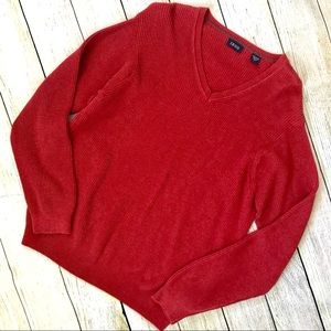 Izod Mens Large Red Ribbed Pullover Sweater